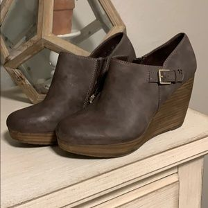 Dr Scholl's Memory Foam Grey Leather Bootie Wedge